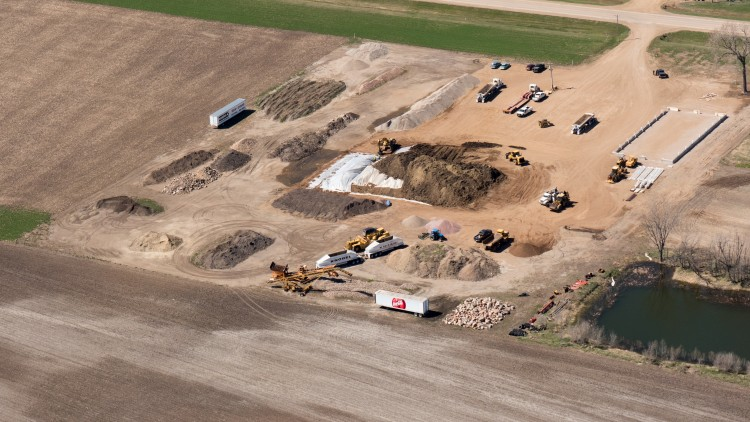 Aerial photo of tarsands-contaminated soil dumping site near TransCanada Keystone pipeline spill near Freeman, S.D. (Photo: Dakota Aerials)