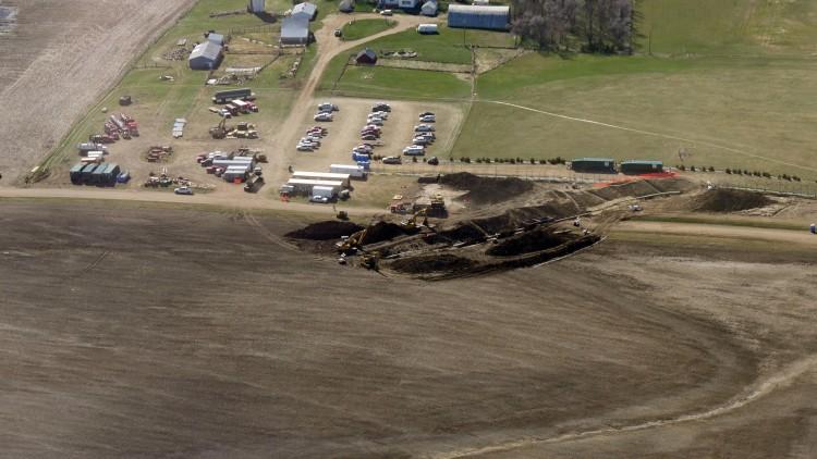 Aerial photo of TransCanada Keystone pipeline spill taken April 10, 2016. (Credit: Bold Nebraska)
